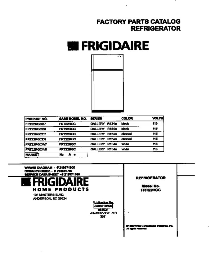 Diagram for FRT22RGCW8