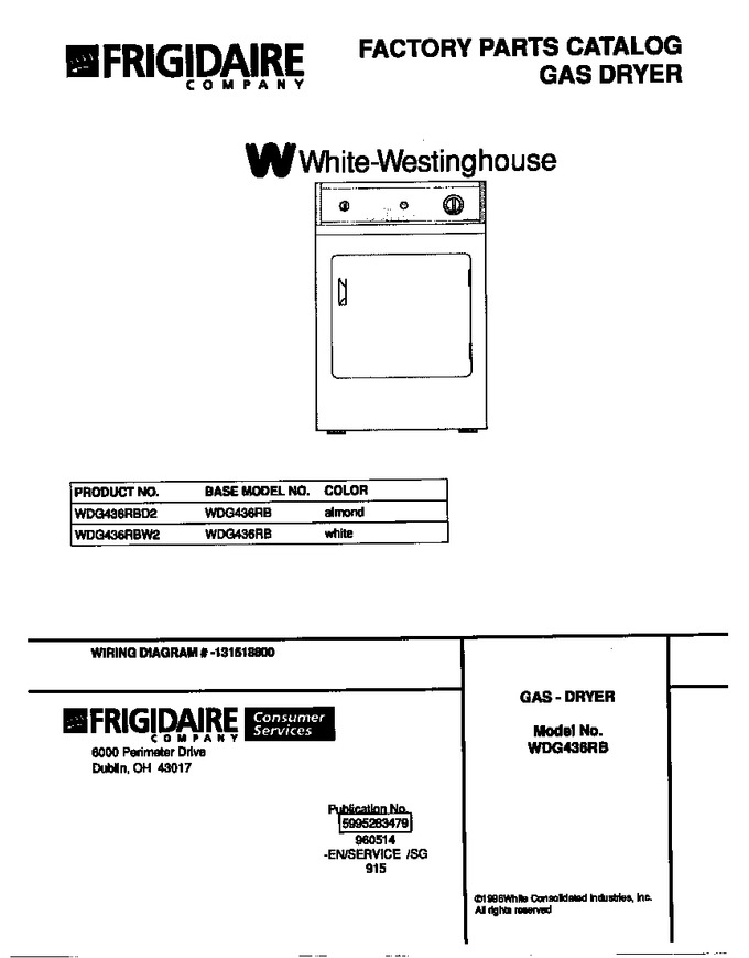 Diagram for WDG436RBW2