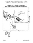 Diagram for 05 - W10307147 Burner Assembly Parts
