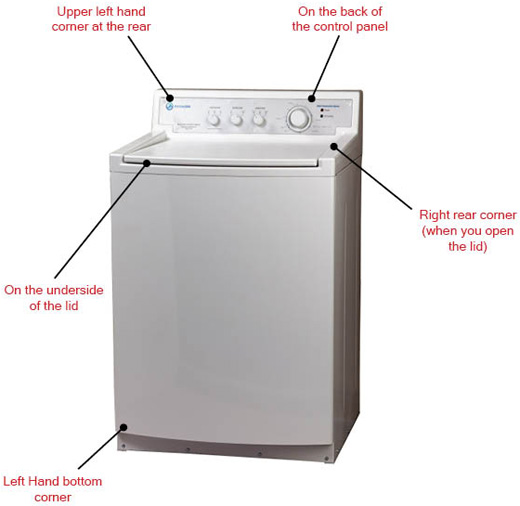 Locating the Model Number on a Top Load Washing Machine
