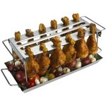 GrillPro Stainless Steel Grill Chicken Wing, Thighs, and Drumsticks BBQ Barbecue Rack
