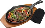 GRILLPRO FAJITA PAN W/HANDLE COVER & WOOD BASE